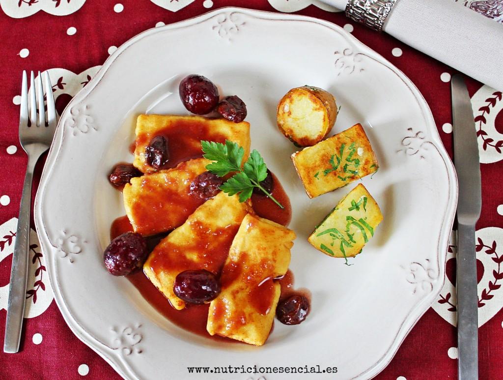 tofu con salsa de oporto,uvas y pasas