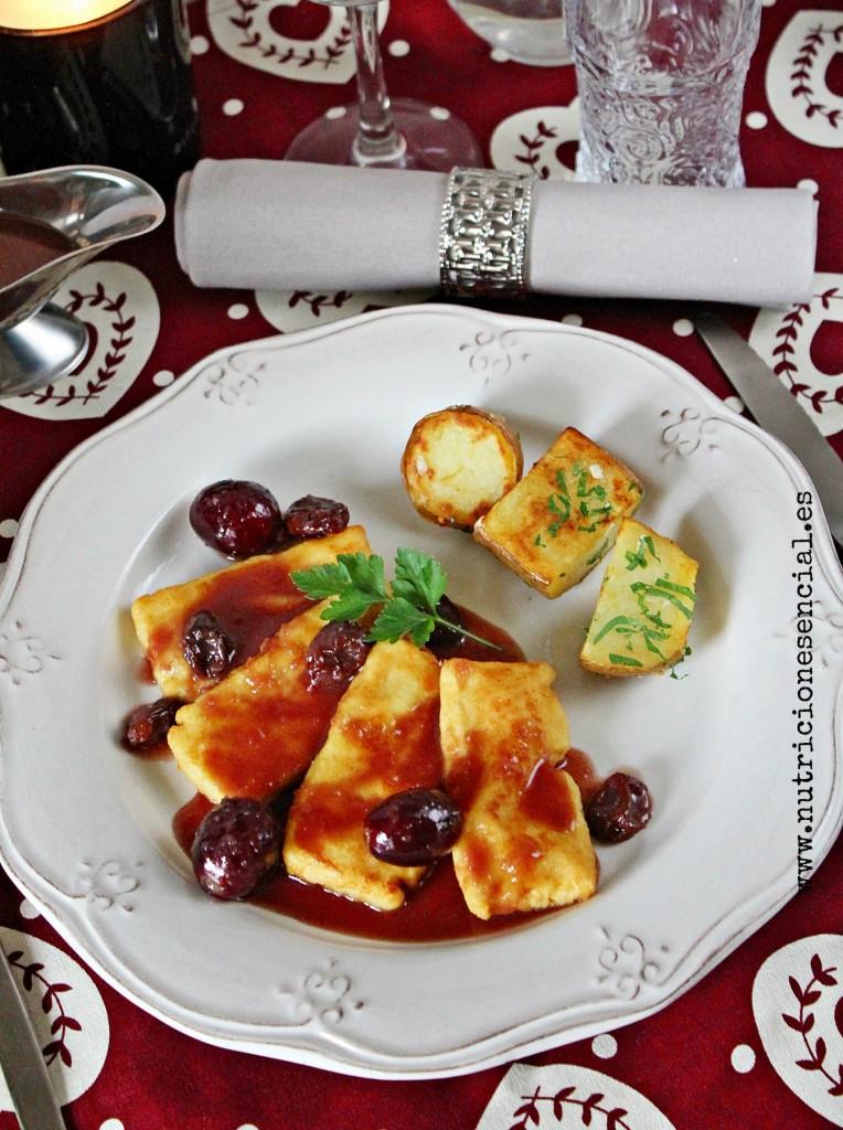 tofu con salsa de oporto,uvas y pasas2