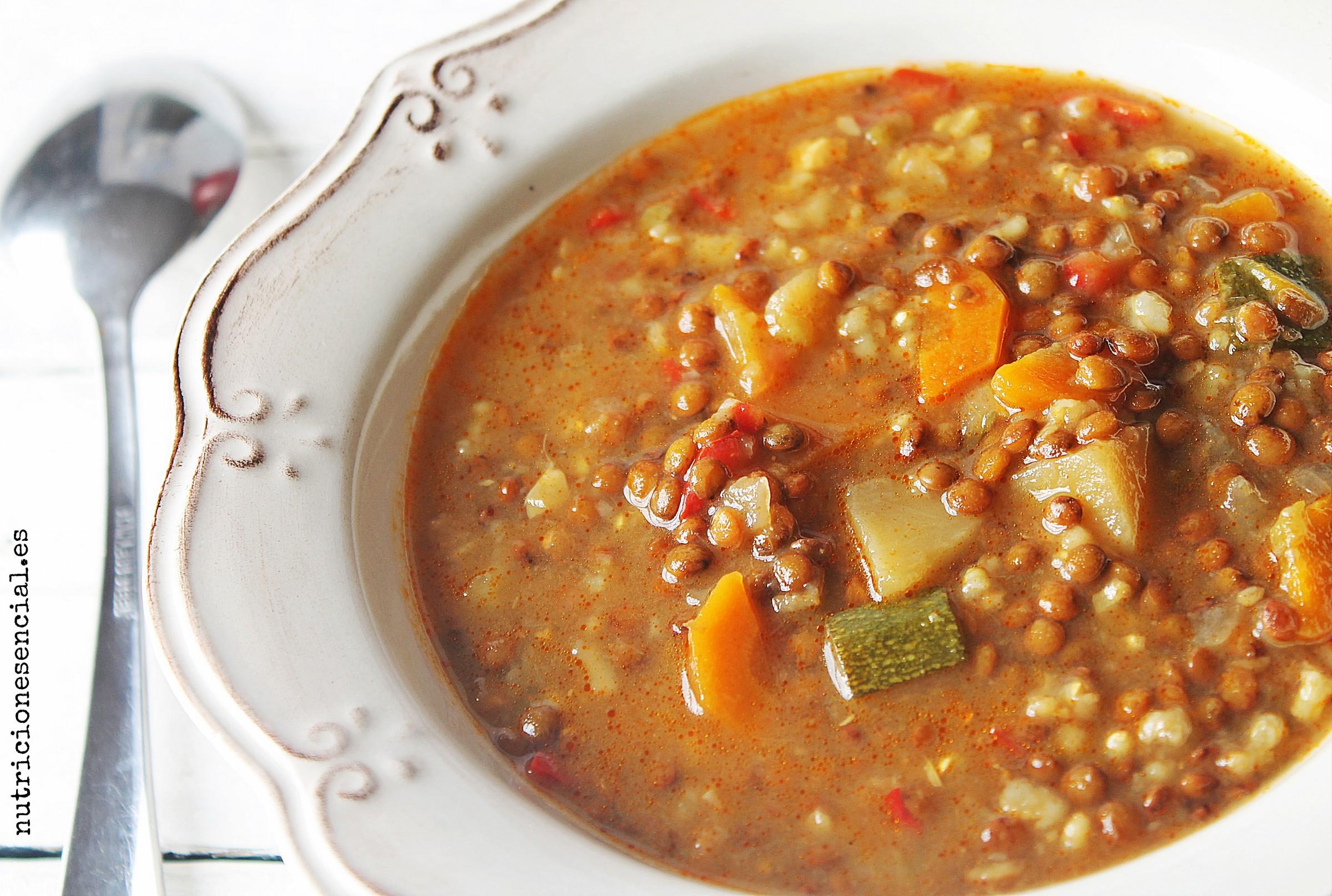 Lentejas estofadas con arroz y verduras - Lentejas con costillas y patatas ...