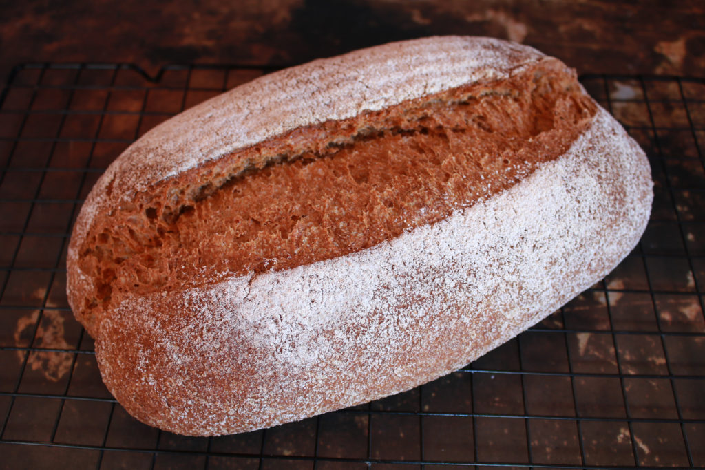 Pan casero integral con prefermento