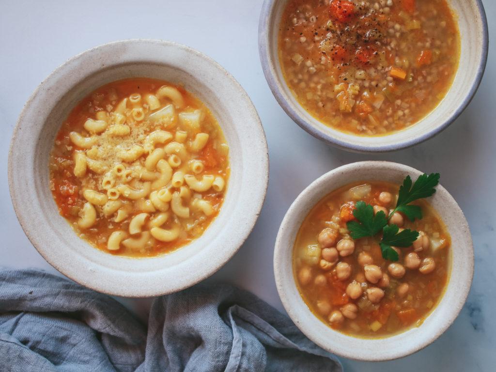 Sopa de puerro y calabaza